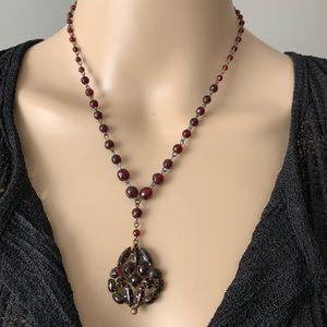 Vintage Czech Ruby-Color Glass Necklace